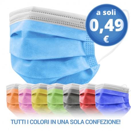50 pz -Mascherina chirurgica per adulti COLORATA - 100% prodotto in Italia -  Dispositivo Medico di Classe 1