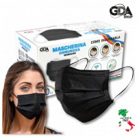 € 0,125 - NERE  - 400 pz -Mascherina chirurgica per adulti  NERA - 100% prodotto in Italia -  Dispositivo Medico di Classe 1