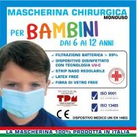 0,10 € - 400 PZ MASCHERINA CHIRURGICA PER BAMBINI AZZURRA - CERTIFICATE CE - 100% MADE IN ITALY