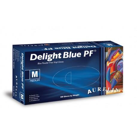 100 GUANTI IN VINILE MORBIDO E SOTTILE TAGLIA L  -Aurelia® Delight Blue PF