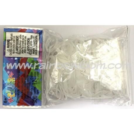 300 elastici GLITTER_BIANCO_Rainbow Loom