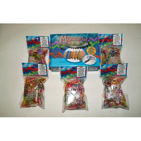 kit Monster Tail + 5  CONFEZIONI ELASTICI ORIGINALI RAINBOW LOOM COLORI MISTI