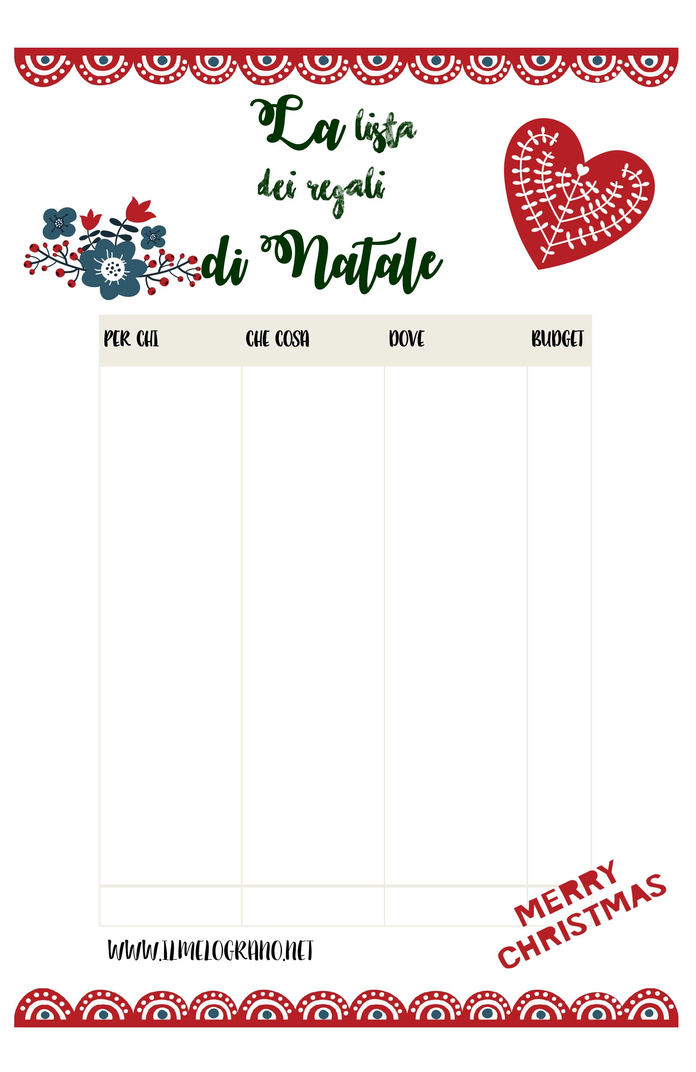 Lista Regali Natale.Lista Dei Regali Di Natale Scaricabile Gratuitamente
