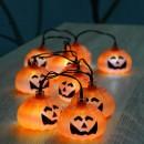 Ghirlanda 10 zucche con Luce Bianca a LED per la Decorazione di n Halloween, Arancione