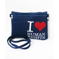 Borsa 2 tasche Human Rights blu
