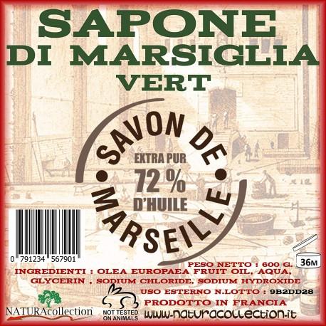 SAPONE DI MARSIGLIA CUBO 300 GR. VERT - EXTRA PURO 72% DI OLIO